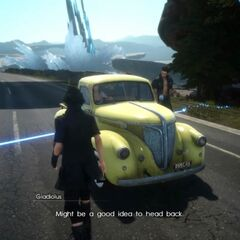 Yellow car in <i>Final Fantasy XV</i>.