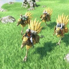 Несколько чокобо в кинематографическом ролике в версии игры для Nintendo DS.