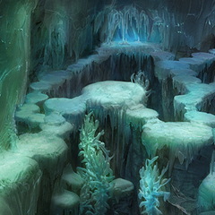 An icicle field inside the Ice Cavern.