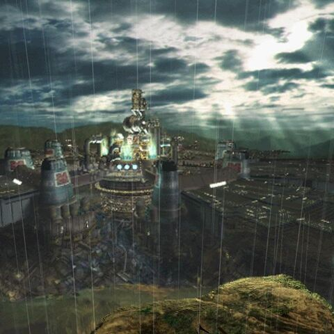 Midgar viewed from the south in <i>Final Fantasy VII</i>