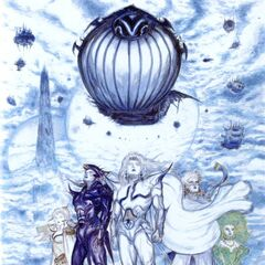 Cecil with the other heroes and the <i>Lunar Whale</i> by Yoshitaka Amano.