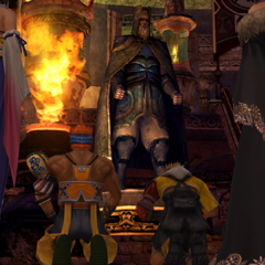 Wakka and Tidus praying to Lord Ohalland's statue.