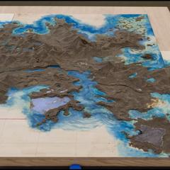 Perfil lateral de um mapa topográfico do mundo de <i>Final Fantasy XV</i>.