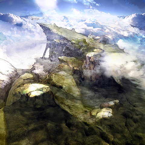 Concept artwork of a highland area used for the opening movie by Akihiko Yoshida (DS).