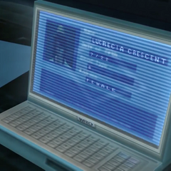 Lucrecia's profile on Shalua's monitor in <i>Dirge of Cerberus -Final Fantasy VII-</i>.