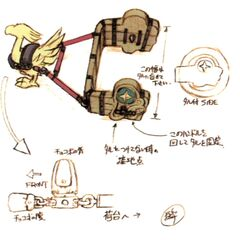 Concept art of a chocobo cart used to move barrels.