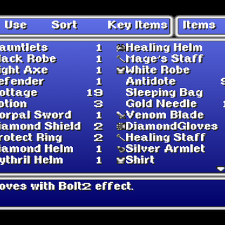 Main Item menu in the PSX version.