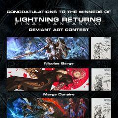 Официальный конкурс фанарта, в котором победители, изобразившие разнообразный дизайн Лайтнинг, получили оригинальные наброски Тэцуи Номуры.