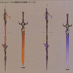 Artwork of Cecil's Dark Knight weapons.