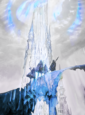 Crystal Tower prologue artwork for Final Fantasy III 3D