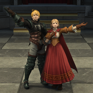 Ramza and Alma on the stage, as their ancestors.