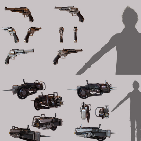 Prompto's firearms (top).