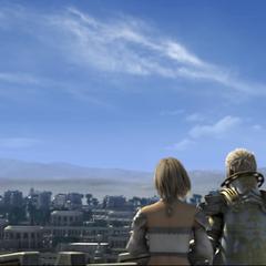 Rasler and Ashe overlooking the city of Rabanastre.