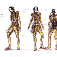 Early concept art of Aki in a desert suit.