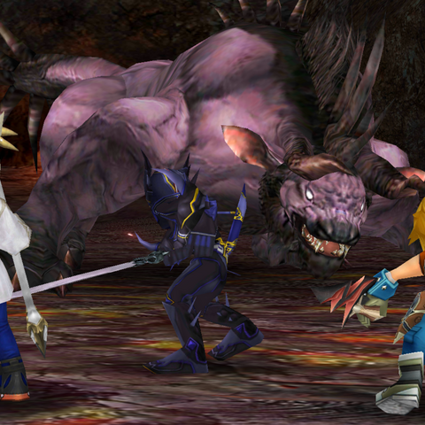 Cecil, Zidane and Y'shtola against the Behemoth.