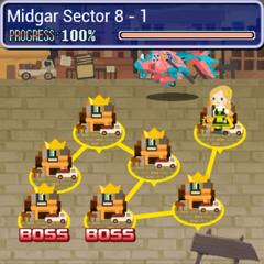 Карта мира Сектора 8 в <i>Final Fantasy Airborne Brigade</i>.