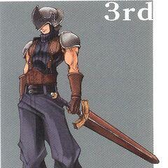 Arte de um SOLDIER de 3° Classe para <i>Crisis Core</i>.