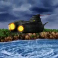 The Lunar Whale in a cutscene (PSP).