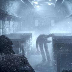 Noctis em um trem numa nevasca em um trailer.