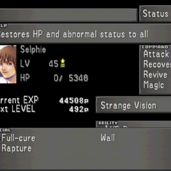 The fourth Status Screen for Selphie, showing Selphie's Limit Break menu.