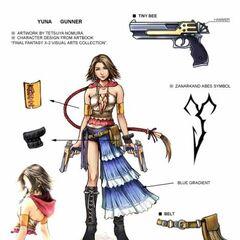 Diagrama de Yuna no traje Gunner.