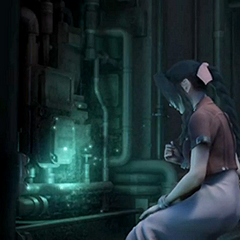 Aerith in the <i>Crisis Core</i> ending cinematic.