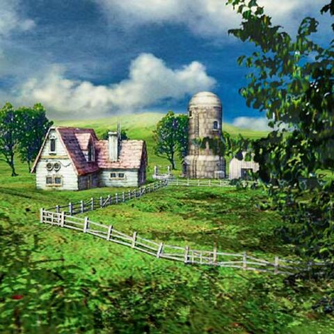 Pre-release image of the farm with a different farmhouse and a tree to the right.