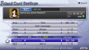 Friend card settings