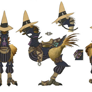 Concept art of a chocobo with black mage barding.
