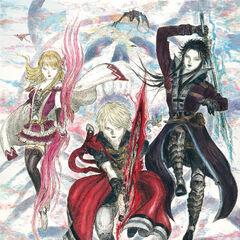 Arte de Fina, Rain e Lasswell por Yoshitaka Amano.