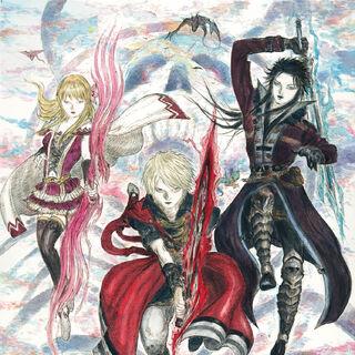 Artwork of Rain, Fina and Lasswell by Yoshitaka Amano.