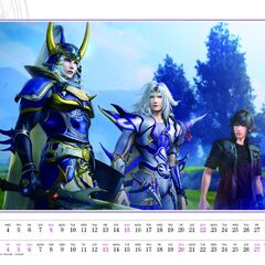 Screenshot of the <i>Dissidia</i> 2018 calendar.