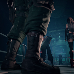 The party confronts Sephiroth in the Jenova containment chamber