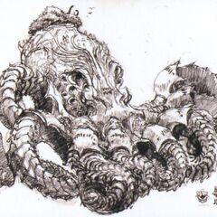 Obra de Fal'Cie Squid de como ele iria aparecer em <i>Final Fantasy XIII</i>.