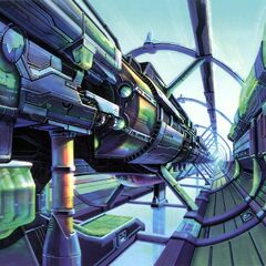 Colored concept art of the capsule launch bay.