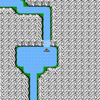 Waterfall Cavern on the World Map (NES).