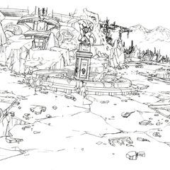 Concept art of the central square.