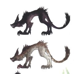 Jackals, including undead/demon jackal w/ facial profile.