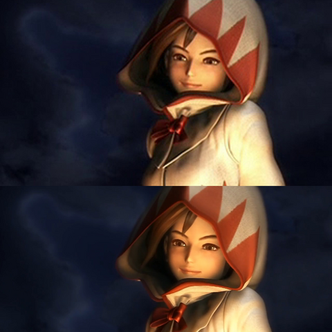 Cutscene movie comparison; original at top