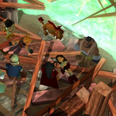 The party on the shore in Mideel after Cloud and Tifa return.