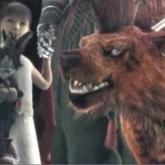 Cait Sith being held by Marlene at the end of <i>Final Fantasy VII: Advent Children</i>.