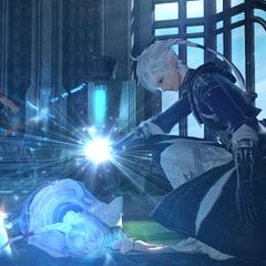 Alphinaud healing his sister.