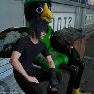 Noctis with Kenny Crow in <i>Final Fantasy XV</i>.