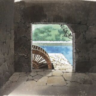 Concept art of the room with the water wheel.