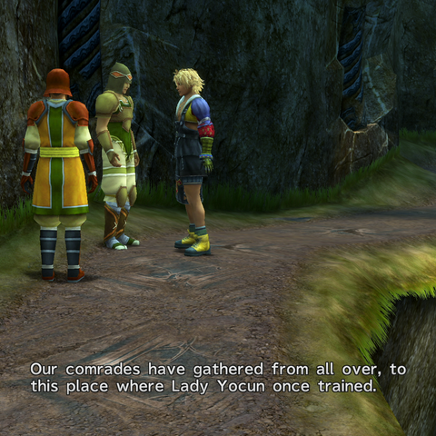 Durren talking to Tidus.