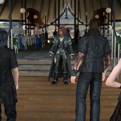 Главные герои встречают Ардина на Причале Галдина.