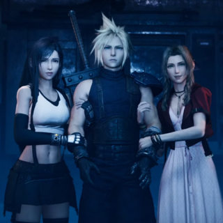 Tifa, Cloud, and Aerith preparing to move through the graveyard in <i><a href=