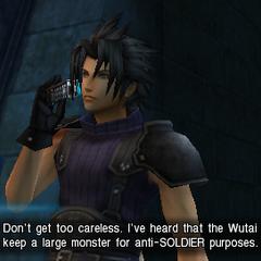 Зак разговаривает с Ангилом в <i>Crisis Core</i>.
