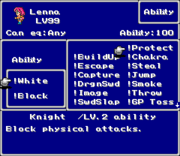 FFV SNES Ability Menu