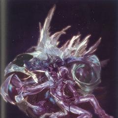 Arte conceitual de Rem e Machina em estase cristalina.